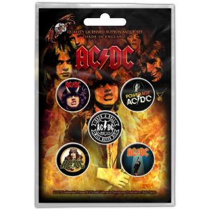AC/DC 5 Pin Badges in Pack  Early Albums (ro)